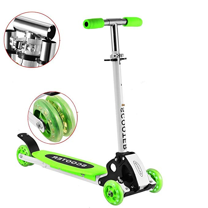 Meflying Kids Kick Scooter 3 Wheel Mini Kick Scooter with Adjustable Height T-Bar Cute Kick Push Scooter for 3+ Years Old (US Stock)