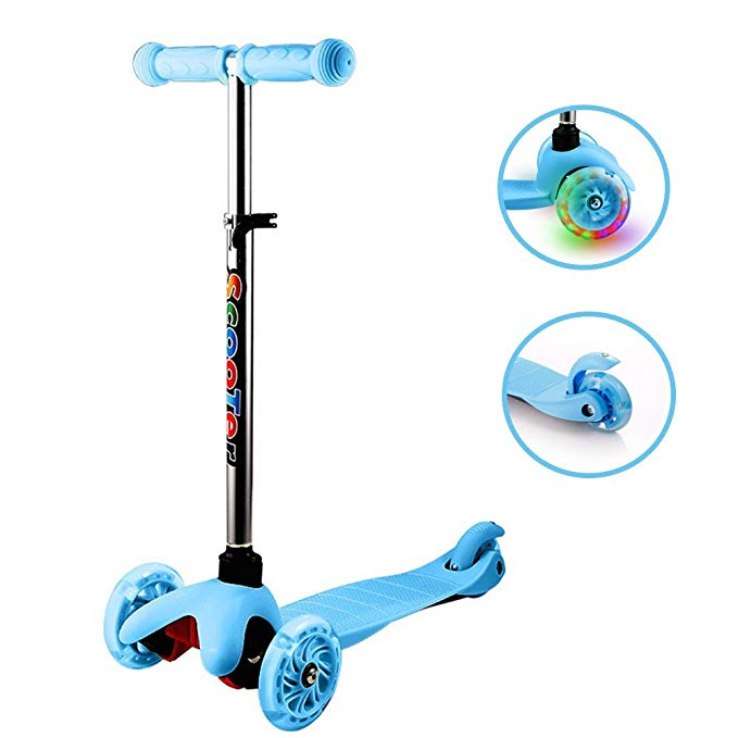 Anfan Kids Kick Scooter 3 Wheel Adjustable Height Mini Micro Scooter PU LED Light Up Wheels,Lean to Steer Birthday Gifts Toddler Boys Girls Age 1-10 Year Old