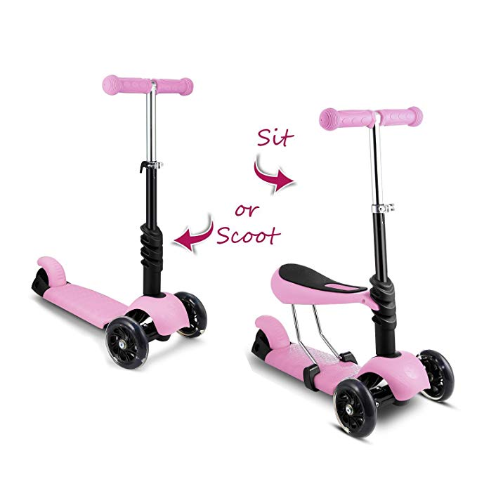 Jaketen Mini Flicker Kids Scooter 3-Wheel Scooter with Removable Seat and Adjustable Handlebar Height for Kids Age 3+